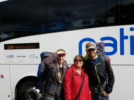 to catch coach to airport, backpackers.